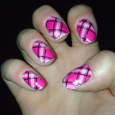 Magenta and silver plaid Jamberry nails. Over 260 different designs available to accessorize your fingers and toes. Visit jennhunt.jamberrynails.net to order. Express yourself and have fun!