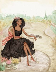 Fashion Illustration with Custom Blog Banner Design by Reani on Etsy
