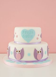 Christening cake with owls