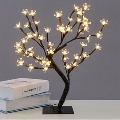 0.45M/17.72Inch 48LEDS Cherry Blossom Desk Top Bonsai Tree Light, Perfect for Home Festival Party Wedding Christmas Indo