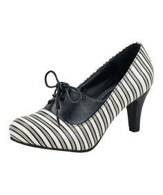 Look what I found on #zulily! Cream & Black Stripe Lace-Up Pump by T.U.K. #zulilyfinds