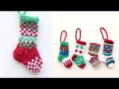 Mini Christmas stocking 1 - knitting tutorial - YouTube