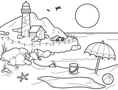Landscapes Beach Landscapes With Lighthouse Coloring Pages