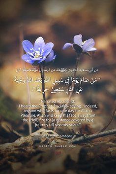 "hadeth: عن أبي سعيد رضي الله عنه، عن الرسول صلى الله عليه وسلم قال: "" من صامَ يومًا في سبيلِ اللَّهِ ، بعَّدَ اللَّهُ وجهَهُ عنِ النَّارِ سبعينَ خريفًا "" صحيح البخاري Narrated Abu Sa`id: I heard the Prophet (ﷺ) saying, ""Indeed, anyone who fasts for one day for Allah's Pleasure, Allah will keep his face away from the (Hell) fire for (a distance covered by a journey of) seventy years."" Sahih al-Bukhari"