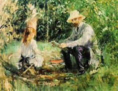 Berthe Morisot (French painter) 1841 - 1895 Eugène Manet and His Daughter in the Garden, 1883