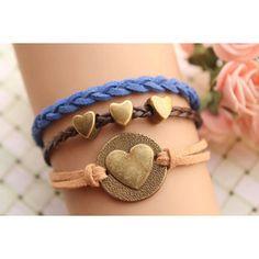 LOVE bracelet,retro bronze LOVE heart round and love heart Pandora bead,alloy bracelet,blue rope,brown leather braid bracelet---B138
