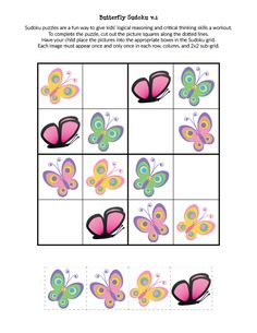 Butterfly Sudoku Puzzles {free printables} - Gift of Curiosity Mazes For Kids, Printable Puzzles For Kids, Card Games For Kids, Preschool Activities At Home, Preschool Printables, Free Printables, Butterfly Games, Printable Butterfly, Phonics Games Online