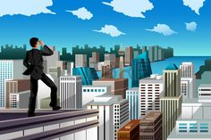 A vector illustration of businessman standing on the rooftop of a skyscraper for business concept
