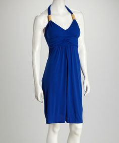 Take a look at this Cobalt Beaded Halter Dress by Claudia Richard on #zulily today! $19.99, regular 60.00