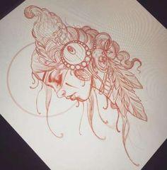 New Tattoo Girl Face Sketch Tat 46 Ideas Tattoo Sketches, Tattoo Drawings, Body Art Tattoos, Sleeve Tattoos, Chicano Drawings, Tattoo Girls, Girl Tattoos, Gypsy Tattoos, Tatoos