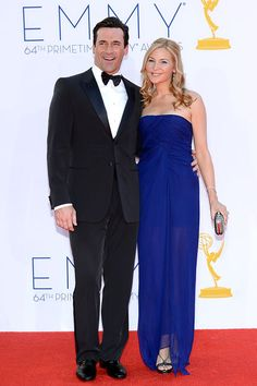 Longtime couple Jon Hamm (in Armani) and Jennifer Westfeldt (in J. Mendel) made a perfectly put-together red carpet pair.