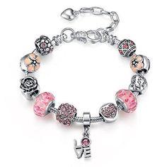 Sterling Silver Charm Bracelet,Four Leaf Clover with Presentski Diamond Charm Bracelet