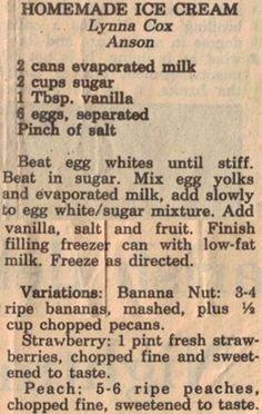 Ingredients:  2 cans evaporated milk,   2 cups sugar,   1 Tbsp. vanilla,   6 eggs, separated,   Pinch of salt.