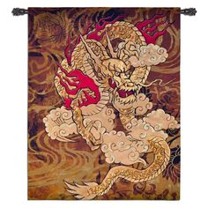 Fine Art Tapestries Golden Dragon Wall Tapestry, As Shown Asian Tapestries, Brad Simpson, Tapestry Weaving, Boho Tapestry, Tapestry Crochet, Dragon Art, Tapestry Wall Hanging, Wall Hangings, Artwork