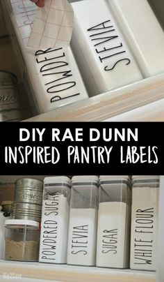 Here's how to DIY some trendy Rae Dunn inspired farmhouse style pantry decals! I'm in LOVE.