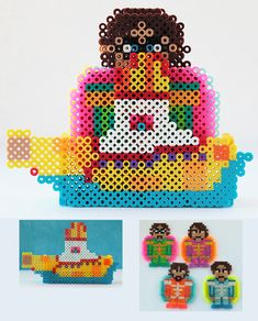 The Beatles Yellow Submarine Drink Coasters perler beads by ThePlayfulPerler on deviantart