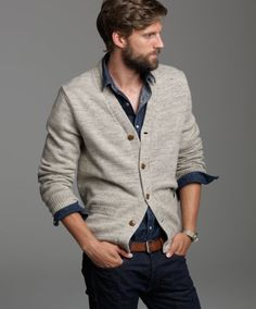cardigan, button down and jeans (for a more casual look)