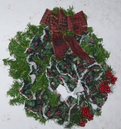 Holly Berry Christmas Wreath!!  #quilted holly christmas fabric and evergreen. 38 inches around weighs 1 lb.$19.97 SOLD