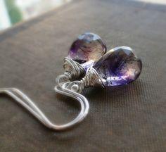 Moss amethyst earrings wire wrapped amethyst by BriguysGirls, $34.00