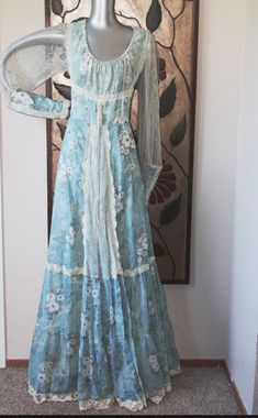 1970s Gunne sax Jessica McClintock floral print country formal wedding dress