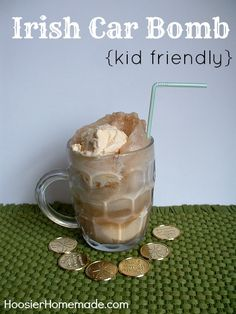 Irish Car Bomb {kid friendly} ~ AnIrish Car Bombisan adult drink that is made with Guinness Beer, Bailey's Irish Cream and Irish Whiskey. Apparently they taste like a Rootbeer Float or a Frosty, so this recipe is basically a rootbeer float. {{wink}}