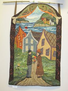 "Seacoast Ruggers ""COUPLE WITH BOUQUET"" - sweet rug with 3-D bouquet of flowers & love the 2 fish hanging overhead!"