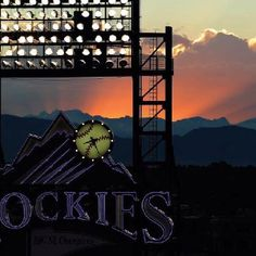 Coors field at sunset.