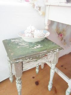 vintage table shabby white and chippy green side table stool farmhouse prairie by Vintagewhitecottage on Etsy