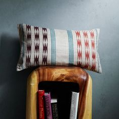 Master Bed Accent Pillow: Hand-Blocked Silk Harvest Stripe Pillow Cover   west elm $34