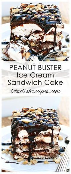 Peanut Buster Ice Cream Sandwich Cake Recipe: Ice cream sandwiches are layered with hot fudge, peanut butter, whipped cream and chopped peanuts in this decadent ice cream cake creation. Ice Cream Deserts, Ice Cream Treats, Ice Cream Recipes, Recipes With Ice Cream Sandwiches, Peanut Butter Ice Cream Cake Recipe, Ice Cream Cakes, Gelato, Brownies, Fried Ice Cream