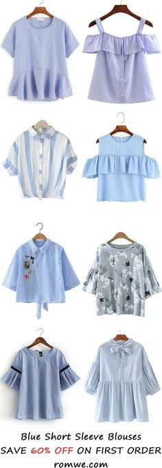 Blue Short Sleeve Blouses 2017 from Look Fashion, Teen Fashion, Korean Fashion, Fashion Outfits, Womens Fashion, Fashion Design, Fashion Trends, Fashion Blouses, Latest Fashion