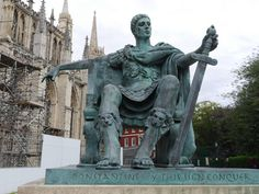 Discover 'Constantine the Great' in York, England: This sculpture marks the spot where one of the greatest Roman rulers was proclaimed emperor. Ancient World History, European History, Westerns, Constantine The Great, Roman History, Roman Emperor, Architecture Old, Ancient Artifacts, Greek