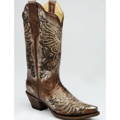 Closeout Corral Ladies' Cowgirl Boots Metallic Bronze with Contemporary Heart and Wing Embroidery and Stud Eyelet AccentsSizes limited to on hand Inventory. Due to closeout pricing No EXCHANGES or REFUNDS. Corral style R1210 might just climb to the top of your favorites. Much like Corral style R1204, these boots will look amazing with your wedding dress. But you don't have to restrict them to ...