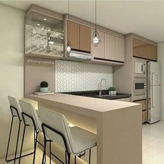 35 A Healthy Lifestyle Begins In A Stylish Kitchen And Things You Will 8 - homevignette Kitchen Room Design, Studio Kitchen, Kitchen Cabinet Design, Home Decor Kitchen, Interior Design Kitchen, Home Kitchens, Kitchen Sets, Contemporary Kitchen Design, Stylish Kitchen