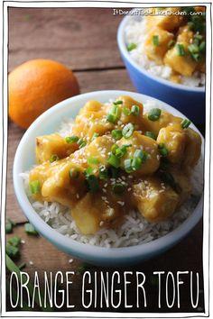 Orange Ginger Tofu. Sweet, sticky, ginger and orangey, kid-friendly. A healthier alternative to Chinese Orange Chicken. Vegan, gluten free, vegetarian. #itdoesnttastelikechicken