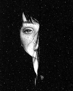 eyes than heart Art Sketches, Art Drawings, Art Noir, Ouvrages D'art, Black And White Illustration, Galaxy Wallpaper, Dark Art, Cute Wallpapers, Art Inspo