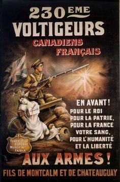 Canadá. WWI French Canadian Propaganda Posters