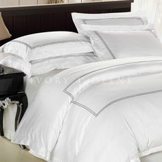 Luxury White Cotton Quilt Cover Set with Satin Trim