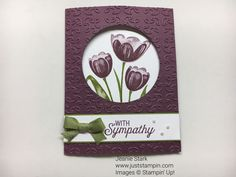 Fun Fold Sympathy card with Stampin Up Tranquil Tulips and Flourishing Phrases Stamp Sets. For directions, supplies, and more card inspiration visit www.juststampin.com