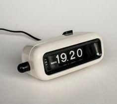 Vintage Flip Clock Alarm Clock / Bosch UDW2 / Retro White Table Clock / 70's Germany