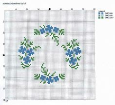 cross stitch forget-me-nots arranged in a circle great for a pin cushion