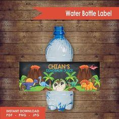 Dinosaur Water or Juice Label Design