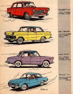 peugeot 404 + opel rekord 1960-1963 + lancia flavia 1960-1963 + ford taunus 17M les chroniques de starter de jidéhem