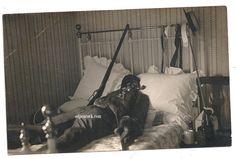 Posed dead man gun skull macabre death postcard by odpeacock