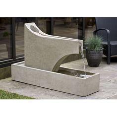 Ultra Modern Outdoor Precipice Floor Water Fountain. Cast stone. Kinsey Garden Decor