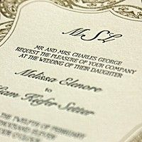 Wedding invitations by PostScript Brooklyn: Elegant sophistication with the perfect touch of vintage. Created from the details of paisley lace, this wedding invitation suite speaks to a lush, formal affair. Shown here in soft white paper and white envelopes, letterpressed in navy and gold.