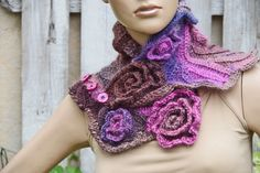 Crochet  Scarf Pink Blue Roses- Capelet / Neck Warmer / Freeform crochet  Blue/ Purple/ Pink/brown Womens scarf, Freeform Crochet scarf/gift
