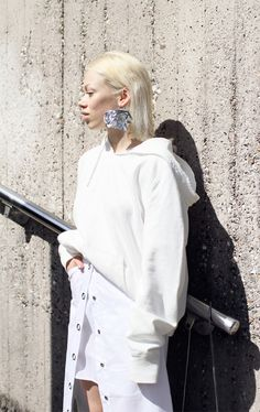 All white everithing / Love Aesthetics, Student Fashion, New Love, Grey Hair, Style Me, Calvin Klein, Fashion Photography, Bell Sleeve Top, Ruffle Blouse