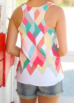 Casual Diamond Print Sleeveless Tank Top is hot sold on NewChic, women tank tops with high quality guaranteed and fashion elements contained. T Shirts For Women, Clothes For Women, Racerback Tank Top, Colorful Fashion, Tank Man, Tank Tops, Casual, Diamond, Products