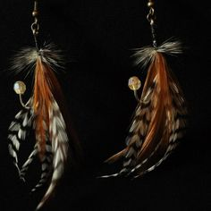 Feather Fishing Lure Earrings, Brown, $15.00